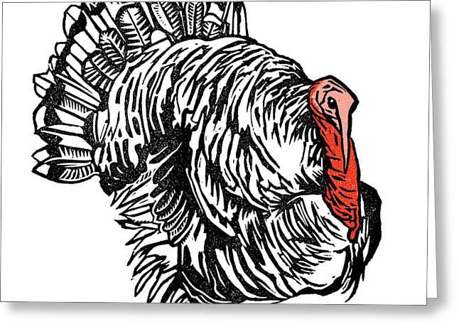 Linocut Greeting Cards - Turkey, Woodcut Greeting Card by Gary Hincks