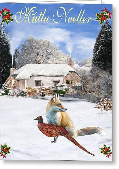 Eric Kempson Greeting Cards - Turkish  Winter Garden Fox and Pheasant Greeting Card by Eric Kempson