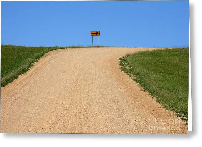 Gravel Road Greeting Cards - Turn Greeting Card by Olivier Le Queinec