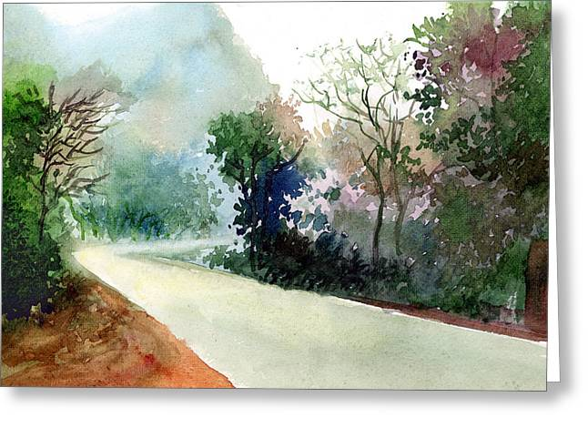 Lighted Pathway Greeting Cards - Turn RIght Greeting Card by Anil Nene