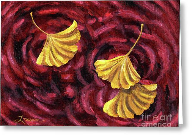 Burgundy Greeting Cards - Turning and Returning Greeting Card by Laura Iverson