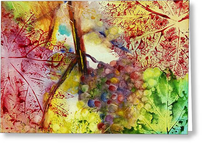 Grape Leaf Greeting Cards - Turning Leaves Greeting Card by Karen Fleschler