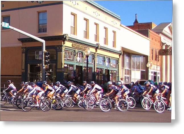 Tour Of The Gila Greeting Cards - Turning Up Broadway Greeting Card by Feva  Fotos