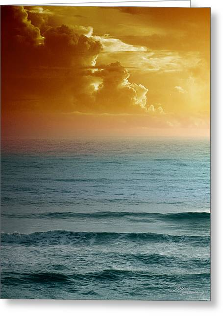 Fine Mixed Media Greeting Cards - Turquoise Amber Sunrise Greeting Card by Maria Eames