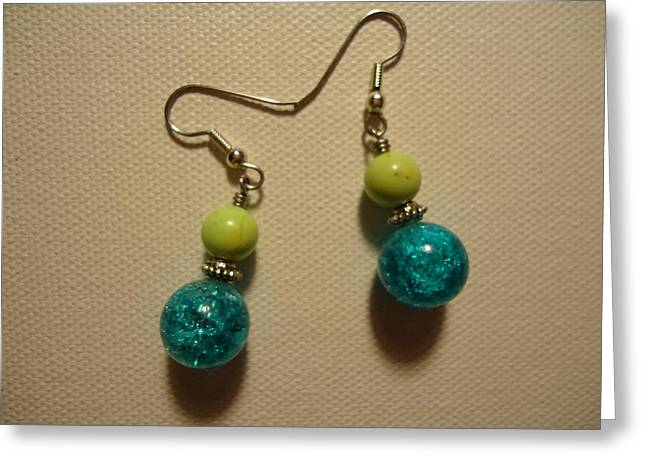 Turquoise And Apple Drop Earrings Greeting Card by Jenna Green