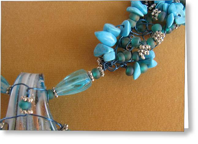 Wire Jewelry Greeting Cards - Turquoise and Silver Greeting Card by Annette Tomek
