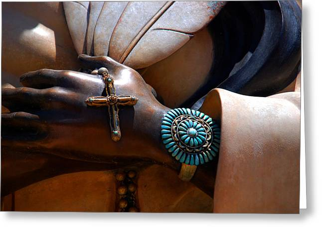 Praying Hands Photographs Greeting Cards - Turquoise Bracelet  Greeting Card by Susanne Van Hulst
