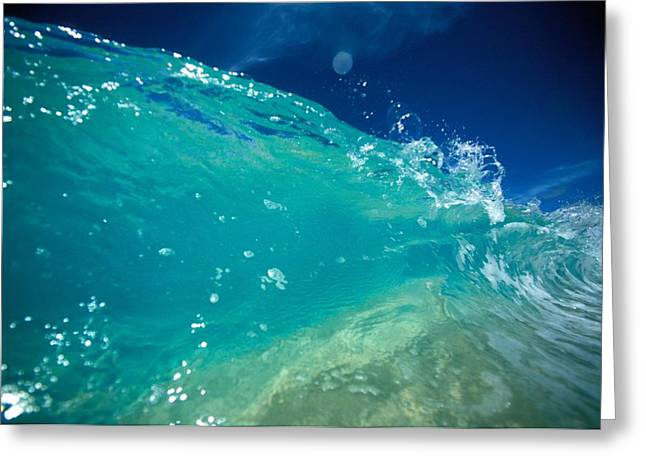 Ocean Art Photos Greeting Cards - Turquoise Breaking Wave Greeting Card by Vince Cavataio - Printscapes