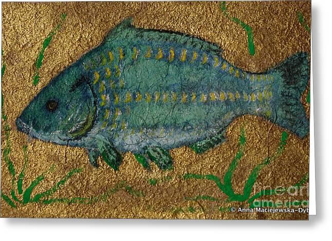 Polish American Painters Greeting Cards - Turquoise Carp Greeting Card by Anna Folkartanna Maciejewska-Dyba