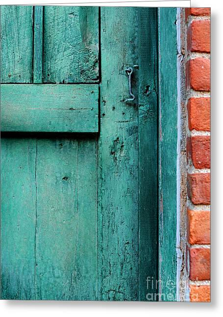 Latch Greeting Cards - Turquoise Door Greeting Card by HD Connelly