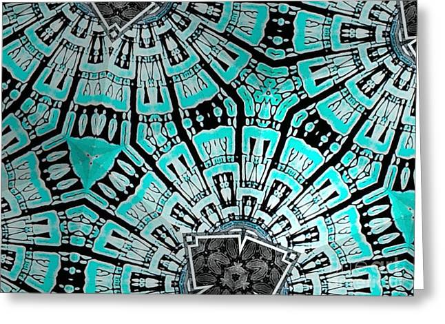 Geometric Effect Tapestries - Textiles Greeting Cards - Turquoise Greeting Card by Erik Stoneburner