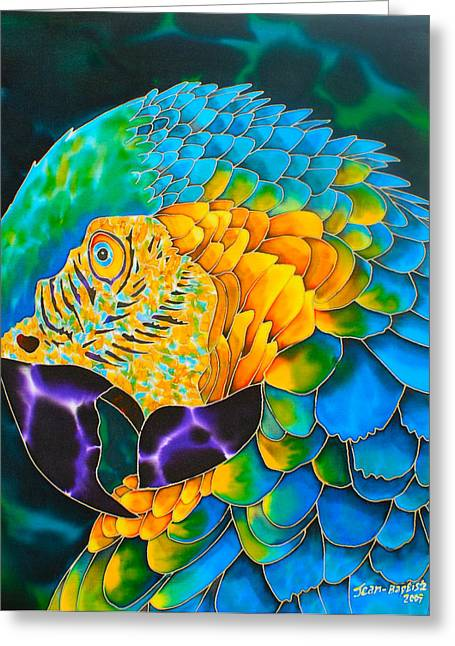 Birds Tapestries - Textiles Greeting Cards - Turquoise Gold Macaw  Greeting Card by Daniel Jean-Baptiste