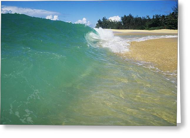 Vince Greeting Cards - Turquoise North Shore Wave Greeting Card by Vince Cavataio - Printscapes