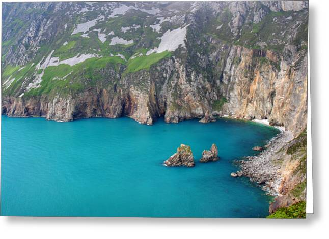 turquoise sea at Slieve League cliffs Ireland Greeting Card by Pierre Leclerc Photography