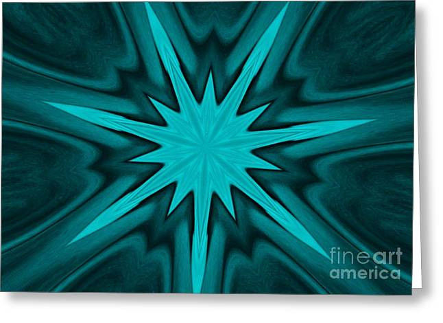 Dark Turquoise Greeting Cards - Turquoise Star Greeting Card by Marsha Heiken