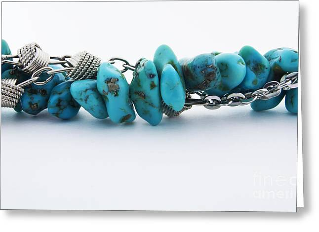Gold Necklace. Greeting Cards - Turquoise stones and silver chain Greeting Card by Blink Images