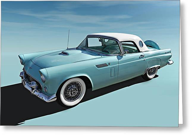 Wheels Greeting Cards - Turquoise T-Bird Greeting Card by Douglas Pittman