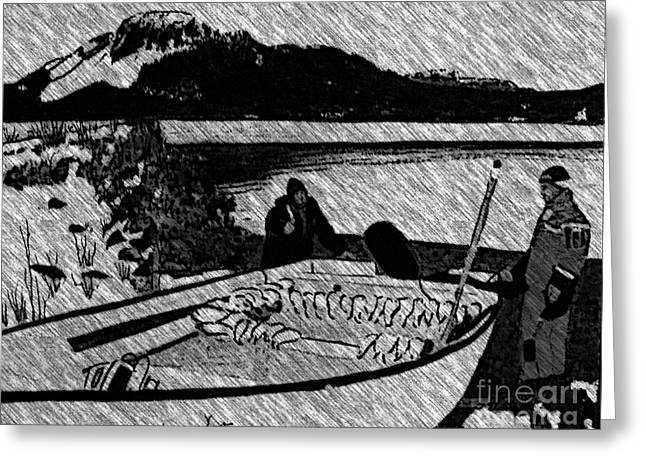 Turr Hunt Sketch Greeting Card by Barbara Griffin