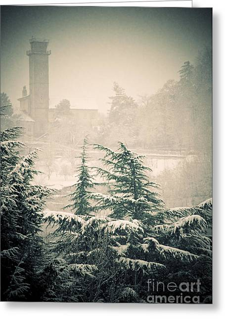 Wintry Photographs Greeting Cards - Turret in snow Greeting Card by Silvia Ganora