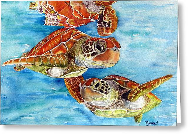 Under-water Greeting Cards - Turtle Crossing Greeting Card by Maria Barry