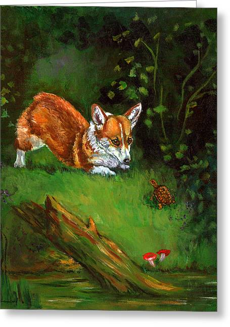 Wood Turtle Greeting Cards - Turtle Encounters - Pembroke Welsh Corgi Greeting Card by Lyn Cook