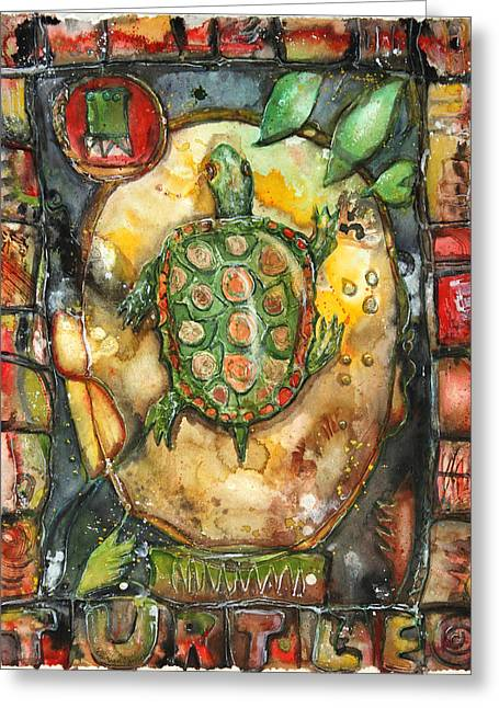 Sweat Mixed Media Greeting Cards - Turtle Greeting Card by Patricia Allingham Carlson
