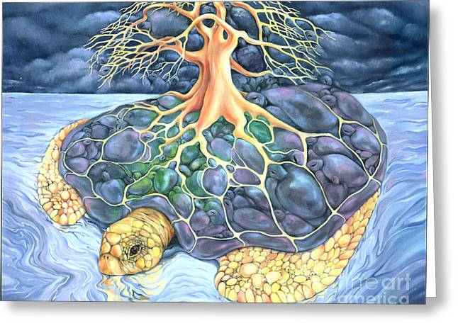 Recently Sold -  - Fantasy Tree Greeting Cards - Turtle Tree Mandala Greeting Card by Marcia Snedecor