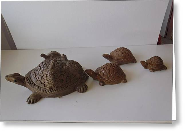 Turtle Sculptures Greeting Cards - Turtles on a stroll Greeting Card by Warli Artists
