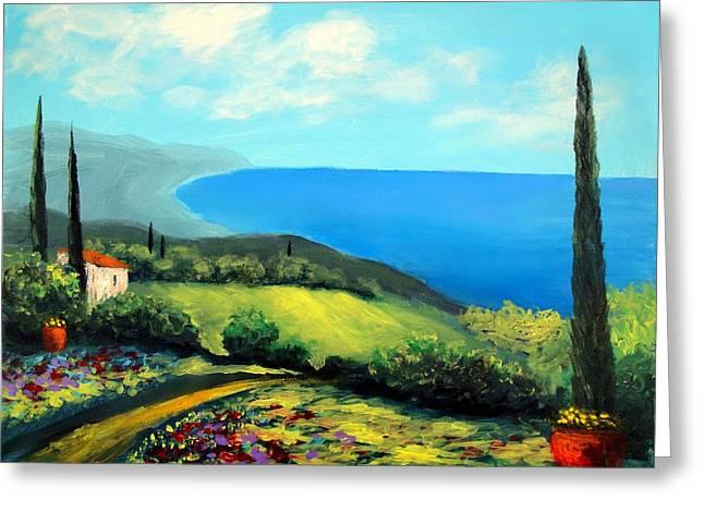 Larry Cirigliano Greeting Cards - Tuscan Coastline Greeting Card by Larry Cirigliano