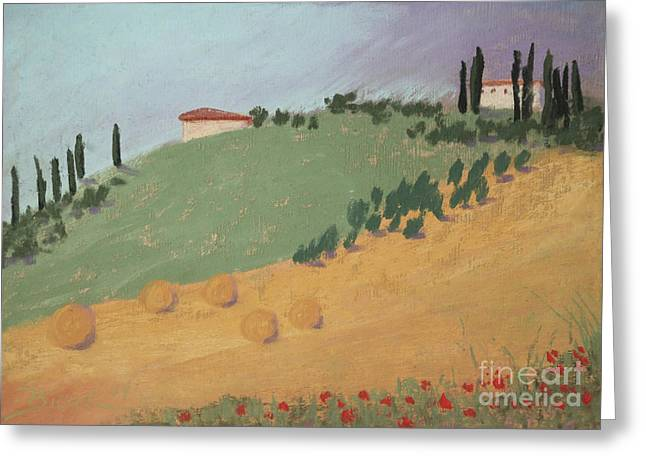 Hayfield Pastels Greeting Cards - Tuscan Farm Greeting Card by Janet Biondi