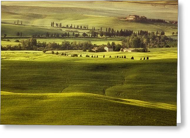 Crete Greeting Cards - Tuscan Fields Greeting Card by Andrew Soundarajan