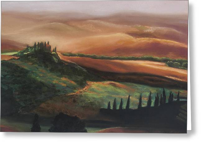 Italian Landscape Pastels Greeting Cards - Tuscan Hills Greeting Card by Elise Okrend
