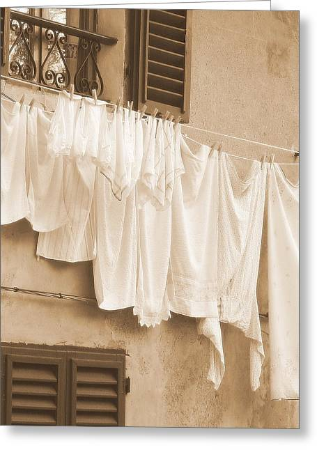 Neutral Colours Greeting Cards - Tuscan Laundry Greeting Card by Ramona Johnston