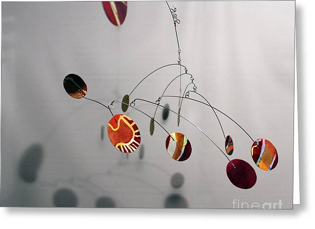 Ceiling Mobile Greeting Cards - Tuscan Sun Zen Kinetic Mobile Watercolor Sculpture Greeting Card by Carolyn Weir