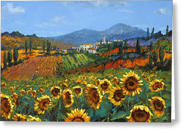 Fields Greeting Cards - Tuscan Sunflowers Greeting Card by Chris Mc Morrow
