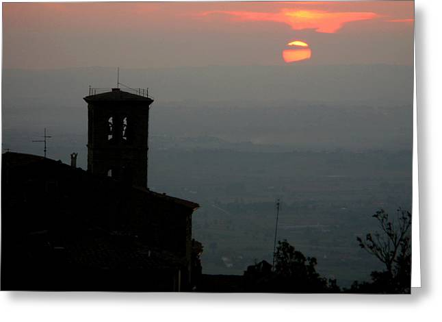 Tuscan Sunset Greeting Cards - Tuscan Sunset Over Cortona Italy Greeting Card by Greg Matchick