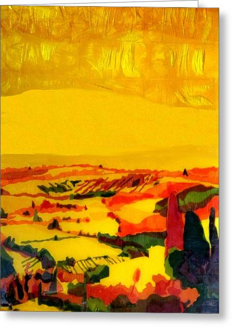 Awesome Mixed Media Greeting Cards - Tuscan view in Resin Greeting Card by Jason Allen