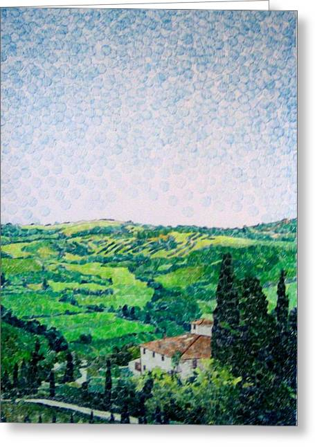 Awesome Mixed Media Greeting Cards - Tuscan View Greeting Card by Jason Allen