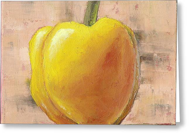Yellow Pepper Greeting Cards - Tuscan Yellow Pepper Greeting Card by Pam Talley