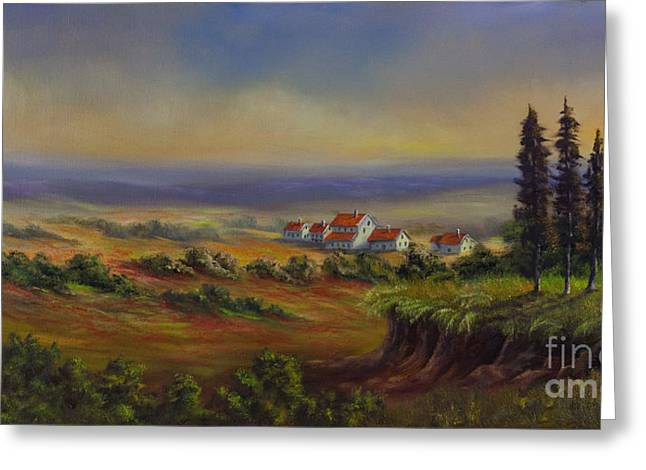 Landscapes Of Tuscany Greeting Cards - Tuscany at Dusk Greeting Card by Charlotte Blanchard