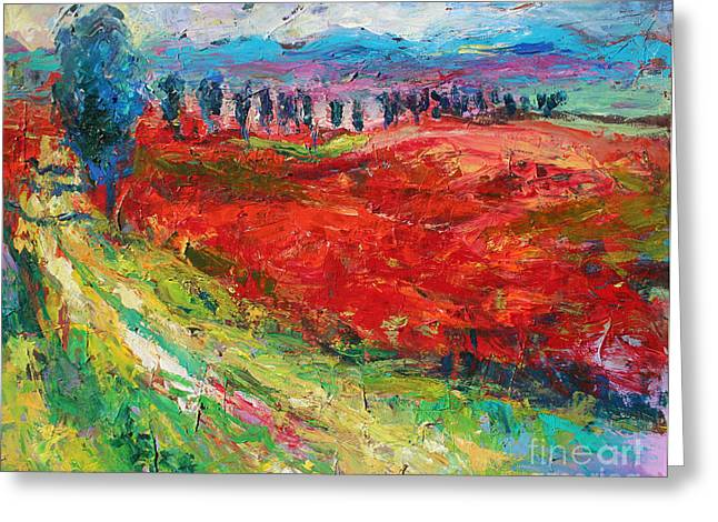 Italian Landscapes Drawings Greeting Cards - Tuscany italy landscape poppy field Greeting Card by Svetlana Novikova