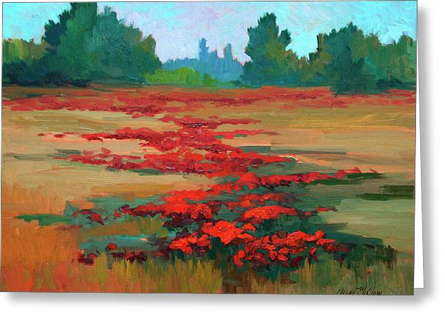 Wine Vineyard Paintings Greeting Cards - Tuscany Poppy Field Greeting Card by Diane McClary