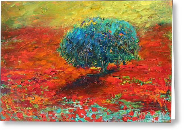 Italian Landscapes Drawings Greeting Cards - Tuscany poppy field tree landscape Greeting Card by Svetlana Novikova