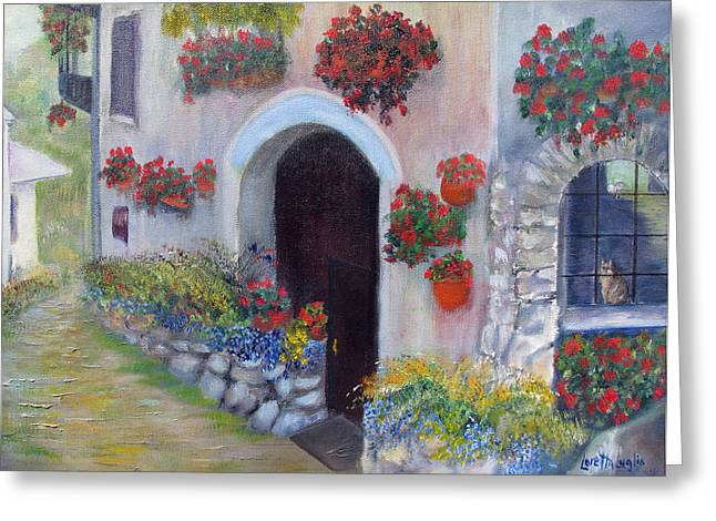 Red Geraniums Drawings Greeting Cards - Tuscany Street Greeting Card by Loretta Luglio