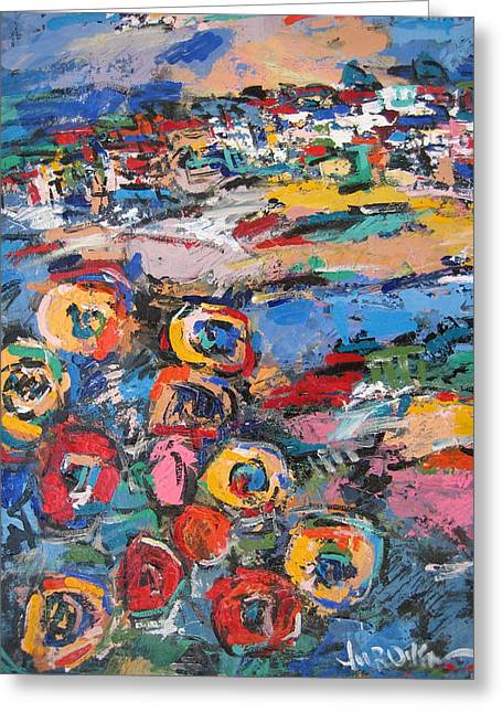 Portofino Italy Artist Greeting Cards - Tuscany With Flowers 02 Greeting Card by Len Yurovsky