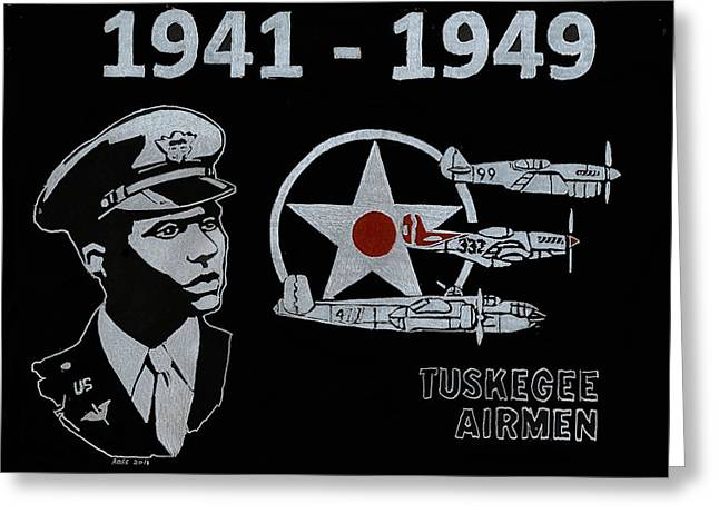 Americans Glass Art Greeting Cards - Tuskegee Airmen Greeting Card by Jim Ross