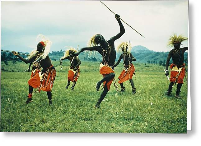 Native African Ethnicity Greeting Cards - Tutsi Men Recall Days Of Glory In An Greeting Card by George F. Mobley