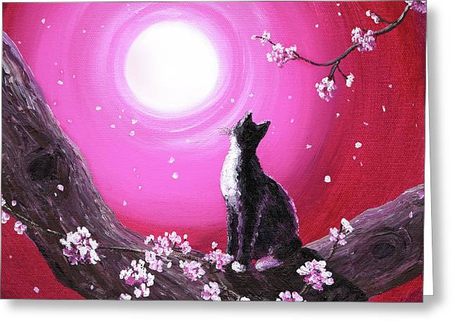 Cherry Blossoms Paintings Greeting Cards - Tuxedo Cat in Cherry Blossoms Greeting Card by Laura Iverson