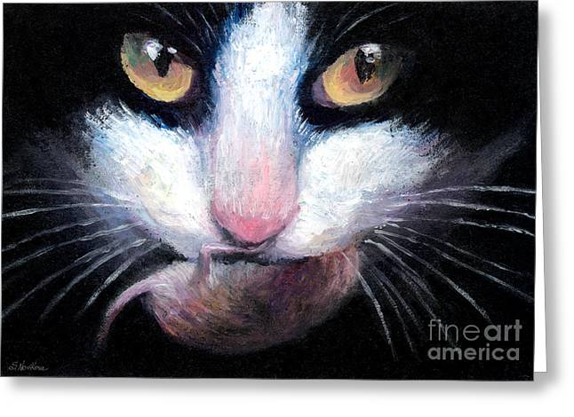 Realistic Drawings Greeting Cards - Tuxedo cat with mouse Greeting Card by Svetlana Novikova