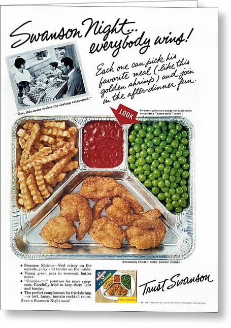 French Fries Greeting Cards - Tv Dinner Ad, 1963 Greeting Card by Granger